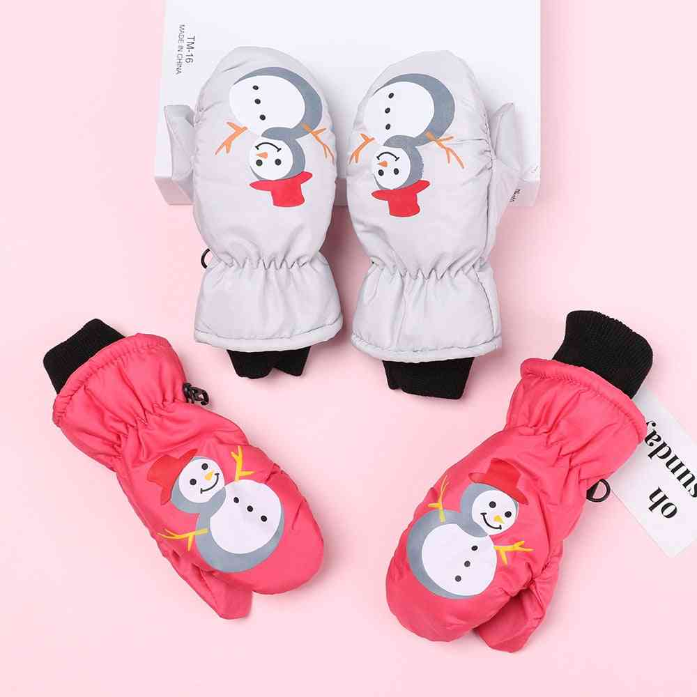 1 Pair 0-5 Years Old Cute Cartoon Snowman Waterproof Windproof Non-slip Outdoor Sports Kids Gloves