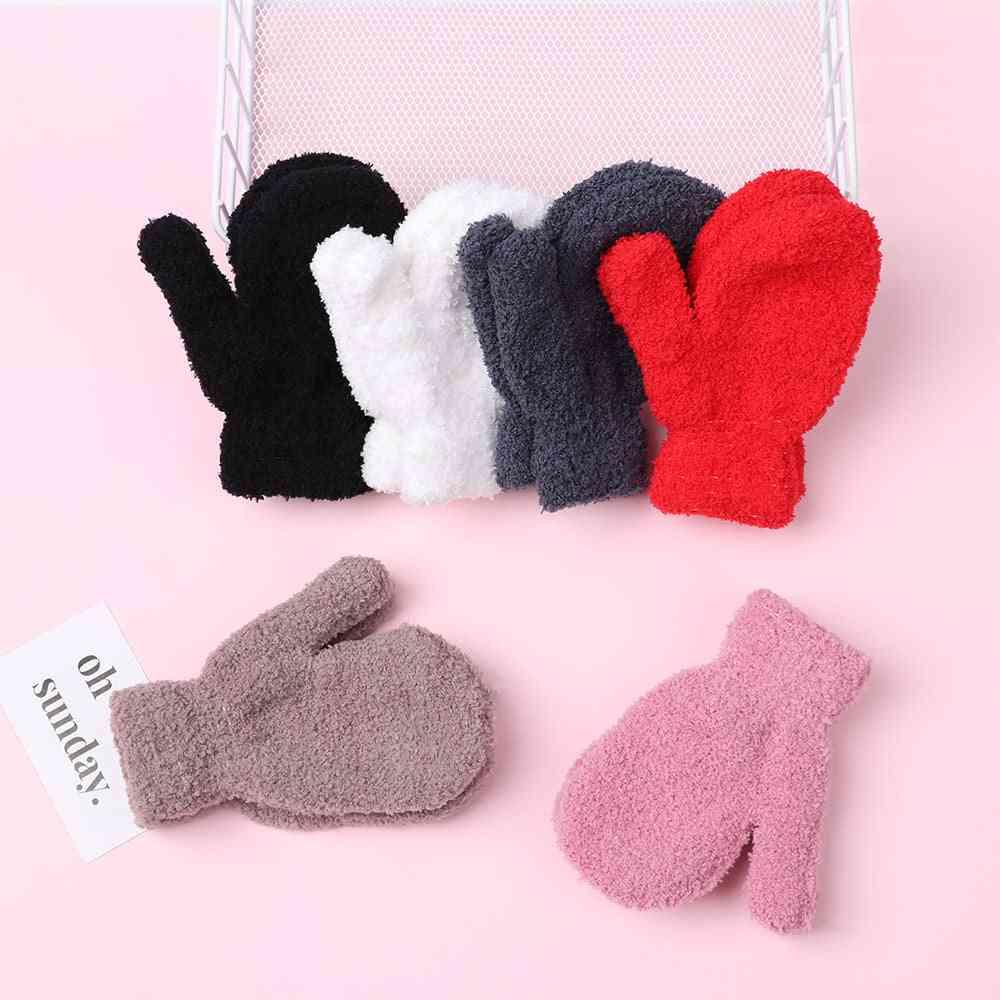 Boys Coral Fleece Knitted Full Finger Gloves