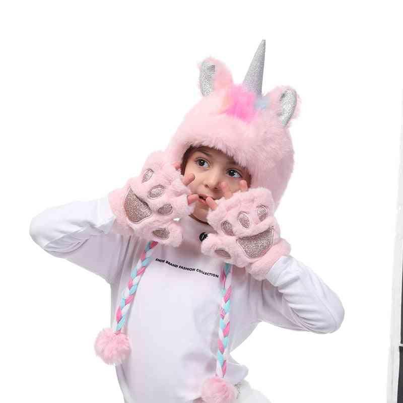 Girls Fingerless Plush Gloves Fur Hoodie Hats