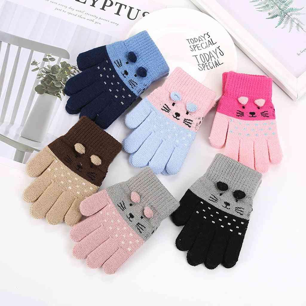Children Winter Cute Cartoon Mittens Animal Warm Knitted Gloves