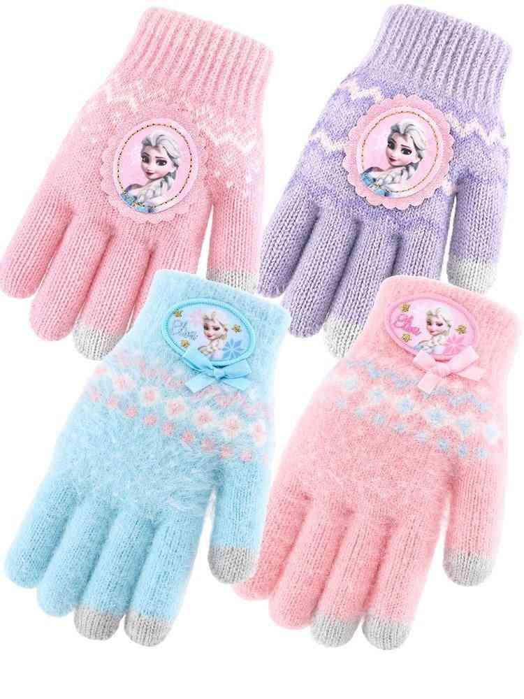 Children's Winter Knitted Warm Full Finger Gloves