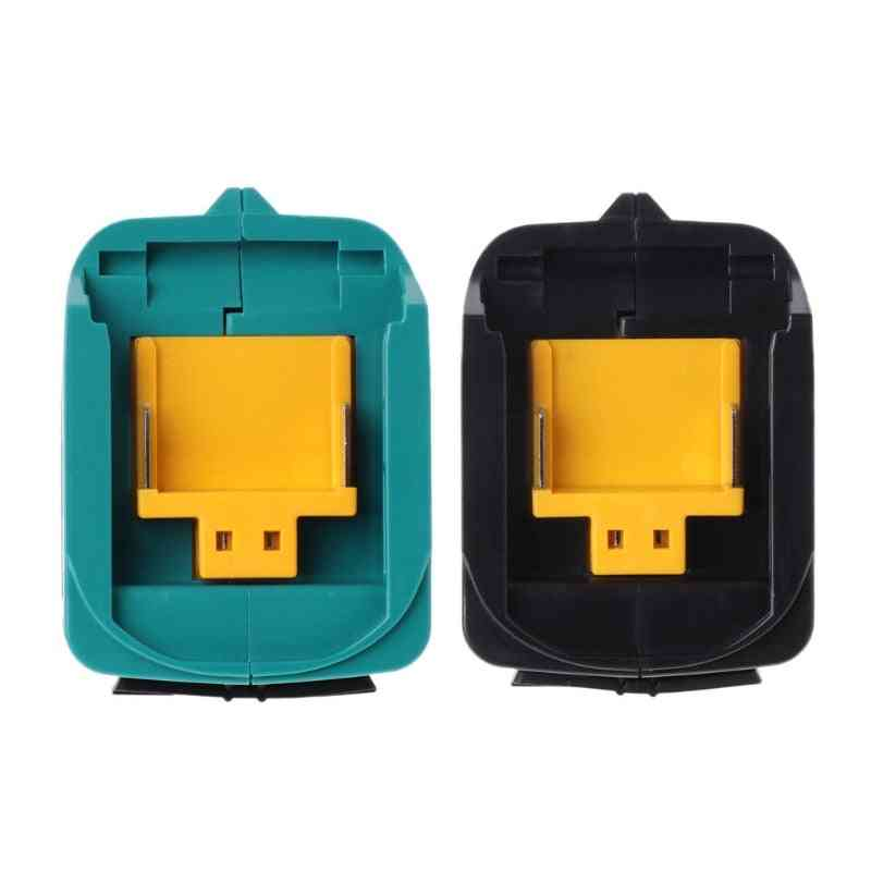 Usb Power Charging Adapter Converter For Bl1815 Bl1830 Bl1840 Bl1850 1415 14.4-18v Li-ion Battery Black