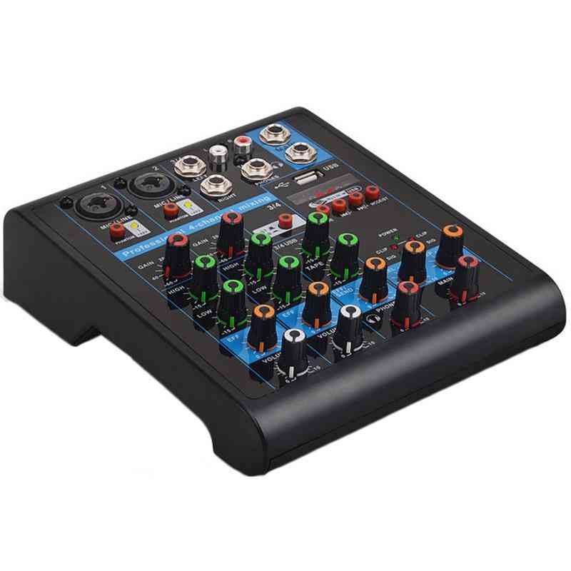 Professional 4-channel Small Bluetooth Mixer With Reverb Effect For Home Karaoke Usb Live Stage Performance