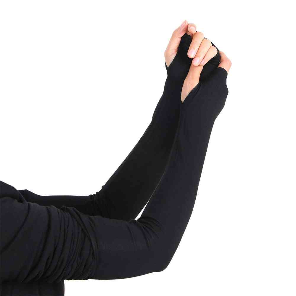 Women Girl Arm Warmer Cotton Long Fingerless Gloves
