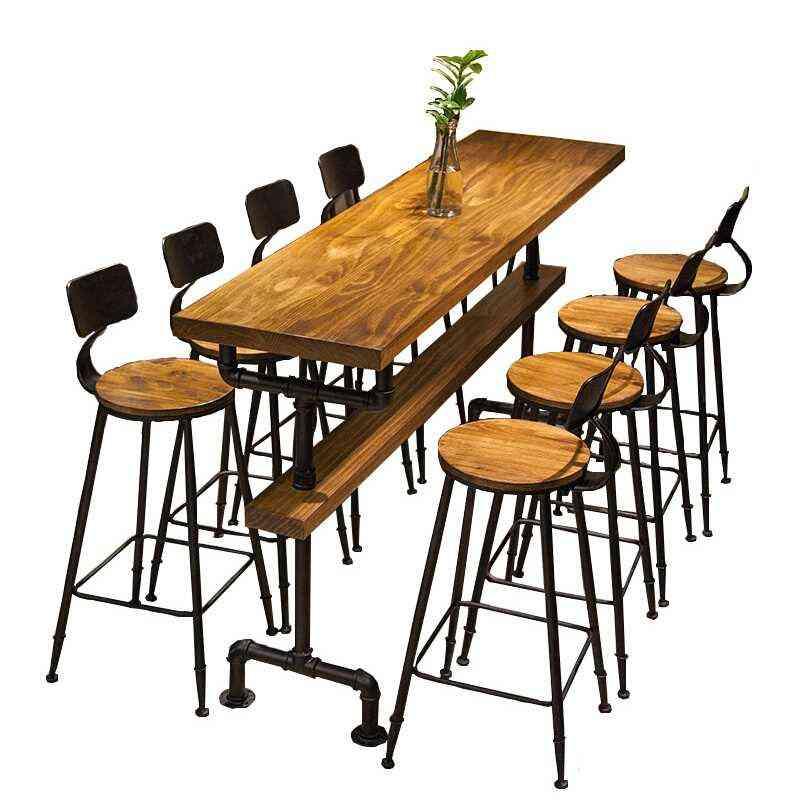 Retro Coffee Shop Solid Wood Wall High Bar Tables 8342