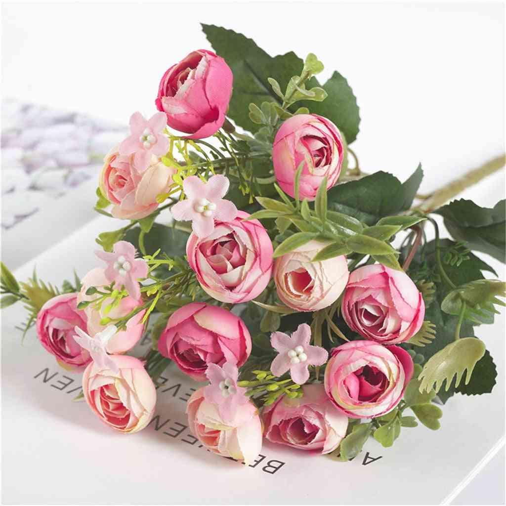Artificial Flowers Bud, Silk Fake Flores For Diy Home, Garden Wedding Decoration