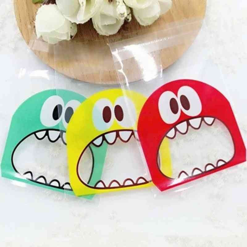Cartoon Monster Cookie & Candy Self-adhesive Plastic Bags For Biscuits, Snack, Baking Package, Christmas Decor