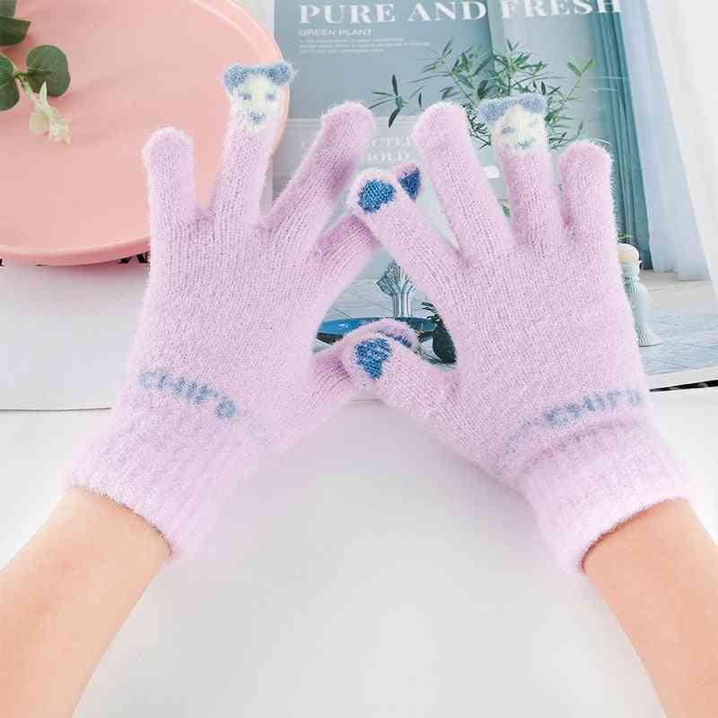Children's Winter Knitting Fleece-lined Thermal Ski Touch Screen Mink-like Gloves
