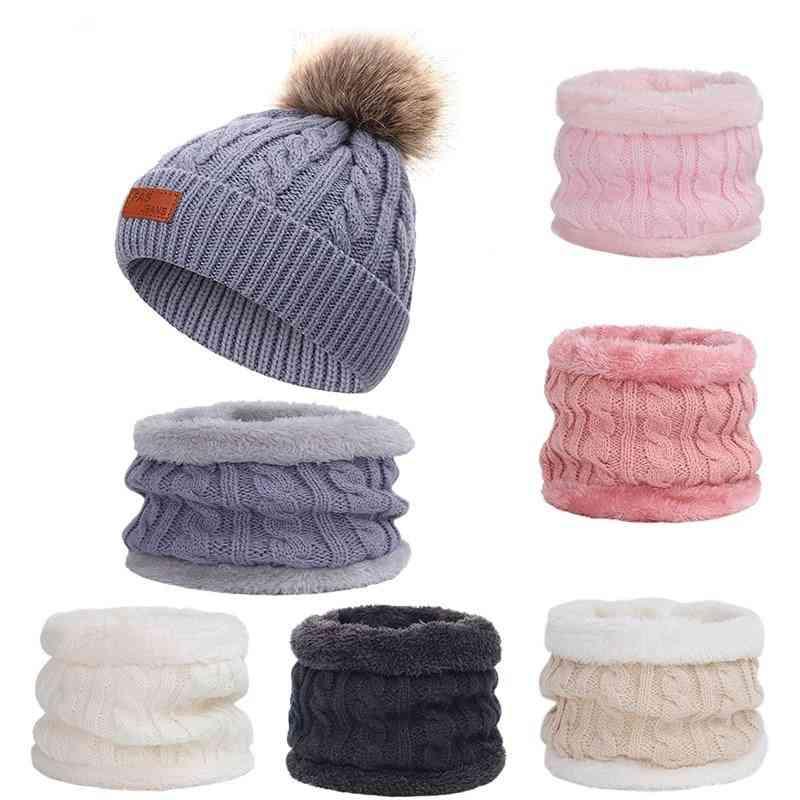 Children's Knitted Winter Hat Scarf 2 Pieces Set