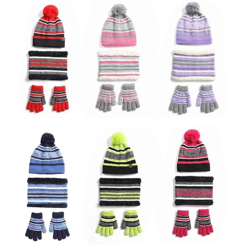 Kids Winter Knitted 3 Pieces Beanie Hat Scarf Gloves Set