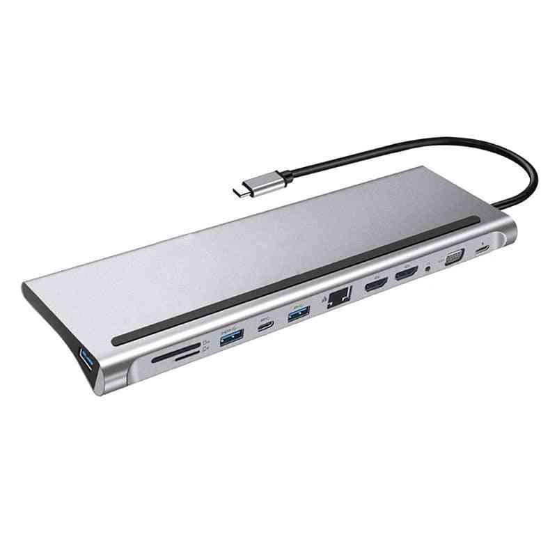 Dual -hdmi-compati Multi Usb Power Adapter Docking Station