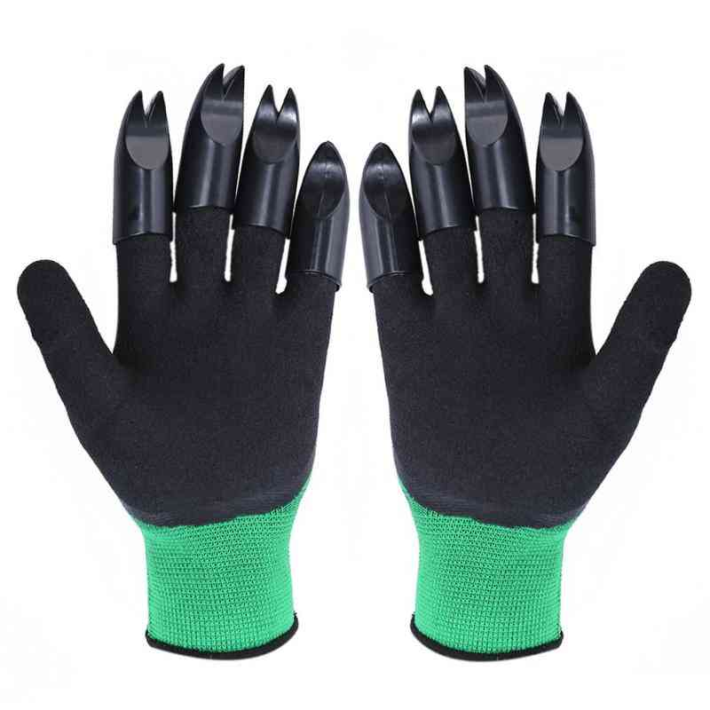 1 Pair Garden Digging Gloves With 4 Right Hand Fingertips