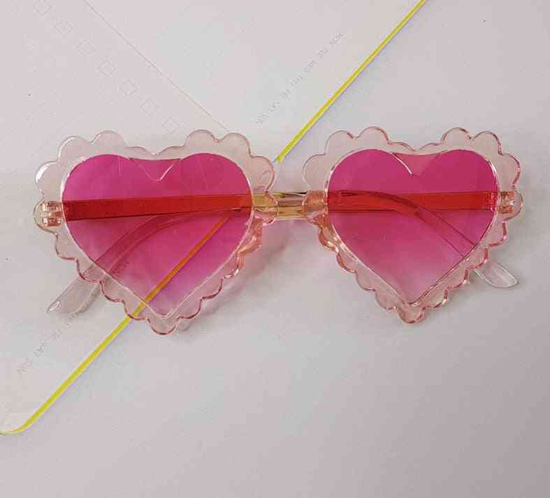 Kids Fashion Brand Heart Love Cure Pink Sunglasses
