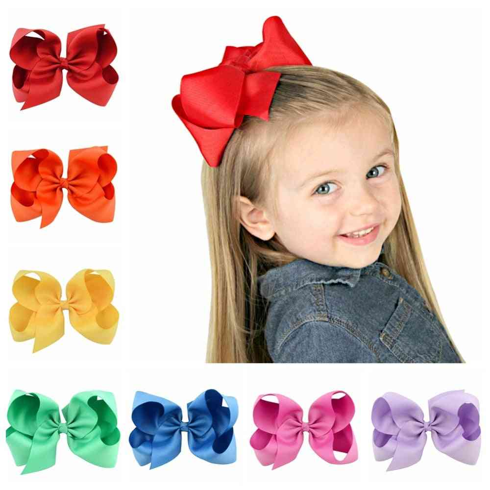 Kids Grosgrain Ribbon Solid Hair Bows With Clips For