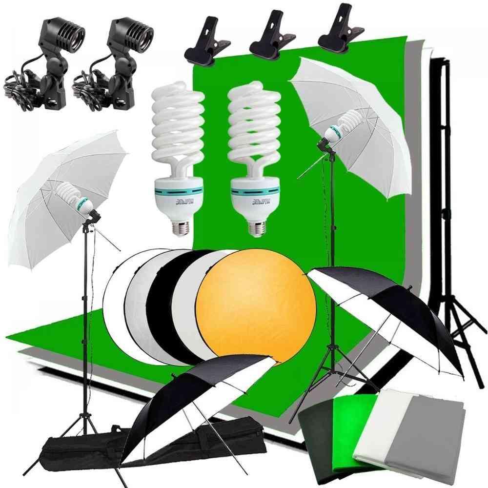 Studio Umbrella Photo Lighting Backdrop Kit + 4 Backdrops + 2 Umbrellas + 2*135w Light Bulbs + Reflector+ Backdrop Stand