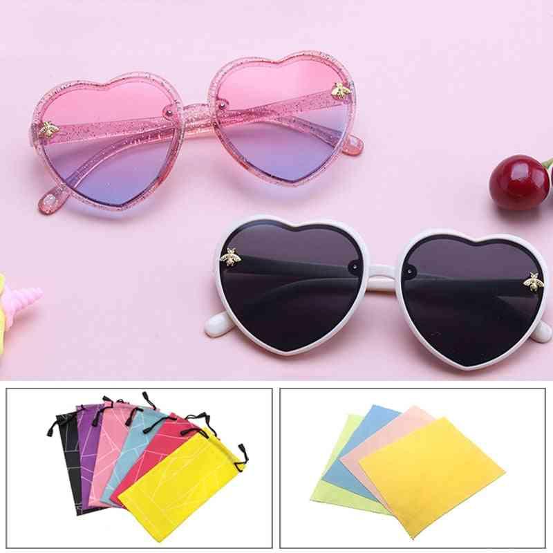 Children Retro Cute Cartoon Bee Pink Heart Sunglasses
