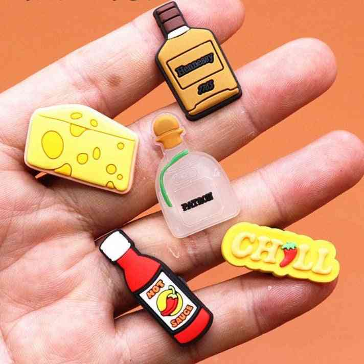 Wine Bottle Shoe Charms Cheese Chili Sauce Accessories Decoration