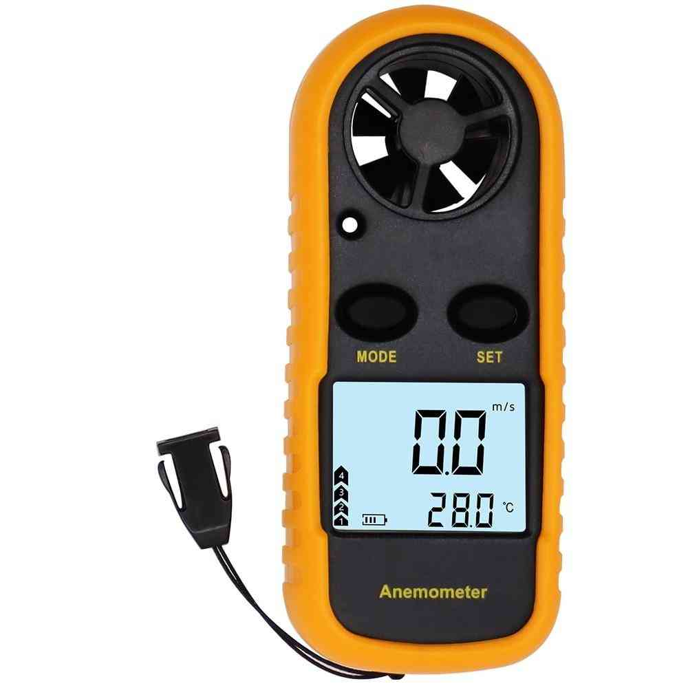 Anemometer Wind Speed Mini Air Velocity Airflow Temperature With Lcd