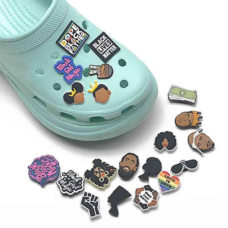 Pvc Croc Black Girl Magic Shoe Button Accessories Buckle Decorations