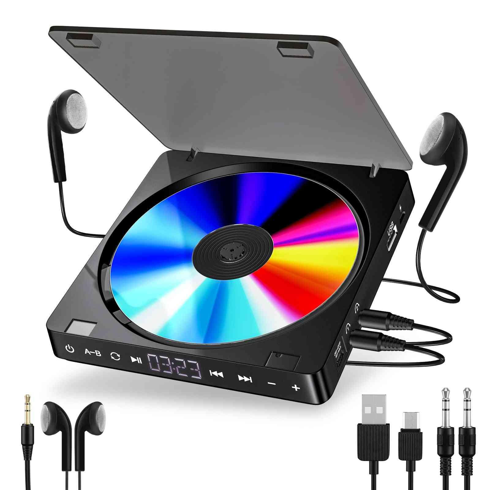 Portable Cd Player Double Headphone Version Touch Button Walkman Discman Rechargeable Shockproof Lcd Display