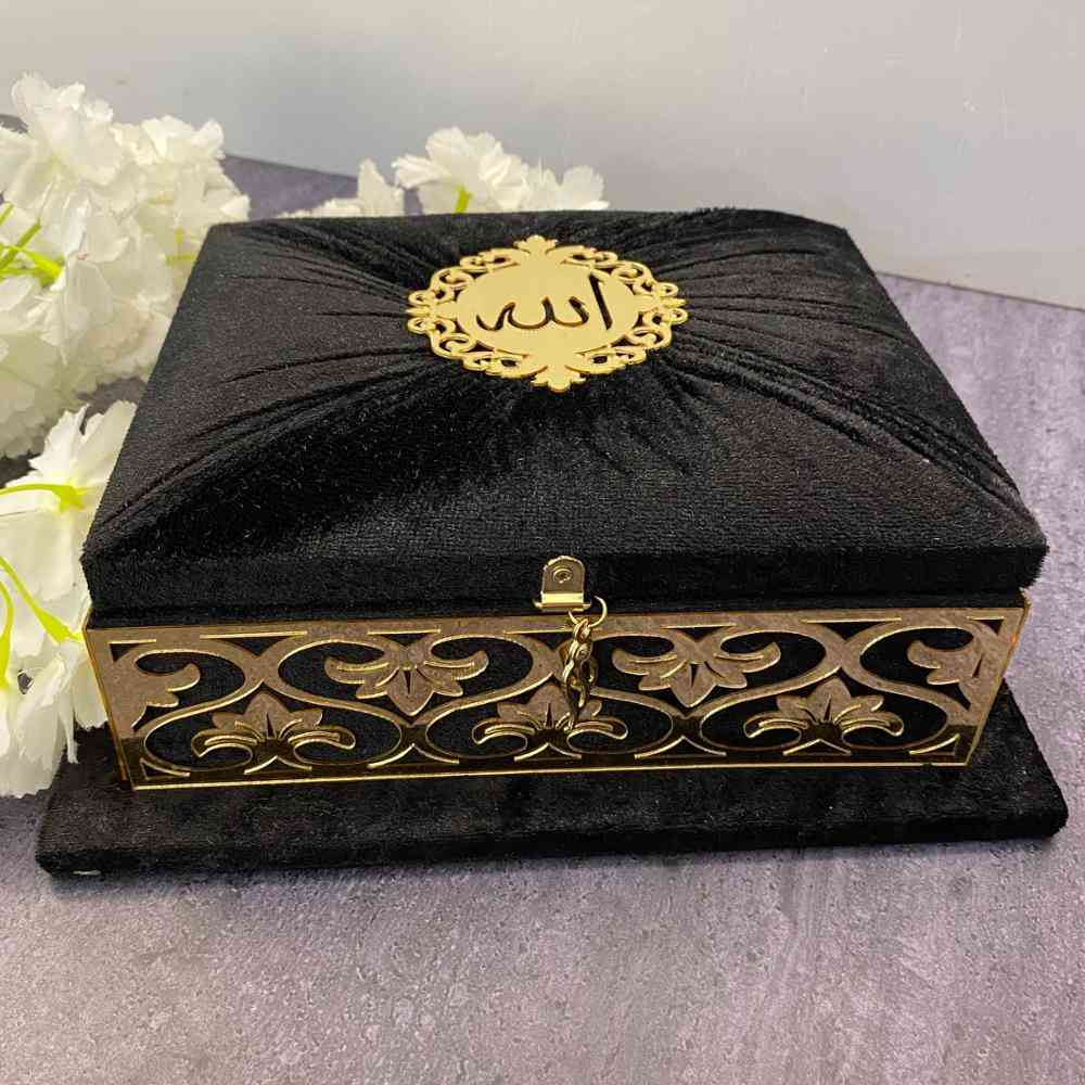 Holy Quran Set, Velvet Covered With Acrylic Mirror Tag, Islamic Muslim