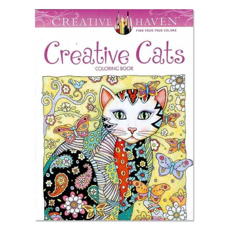 Creative Cats Coloring Book For, Adult, Relieve Stress, Kill Time, Painting Drawing Art