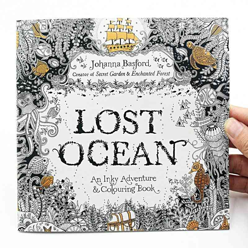 Lost Ocean Inky Adventure, Coloring For, Adult Relieve Stress, Kill Time Painting Drawing Art Book