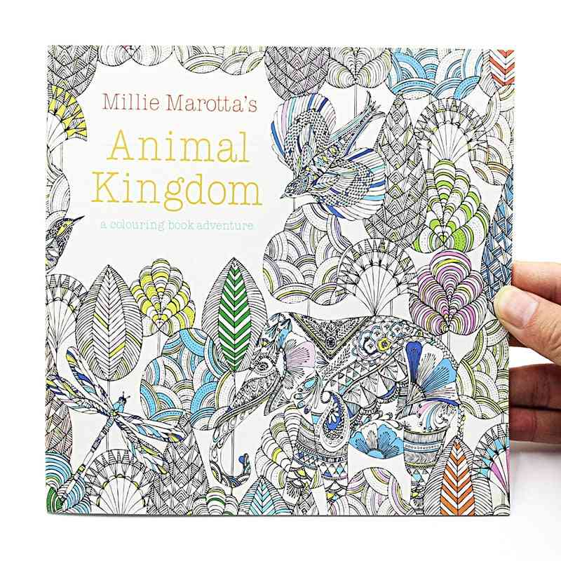 Animal Kingdom English Edition Coloring For, Adult Relieve Stress, Kill Time, Painting Drawing Book