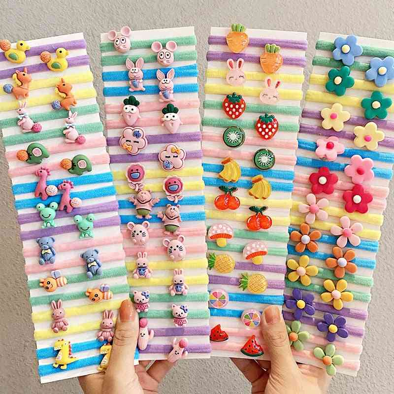 Girls Cute Cartoon Scrunchie Ponytail Holder Rubber Hair Bands