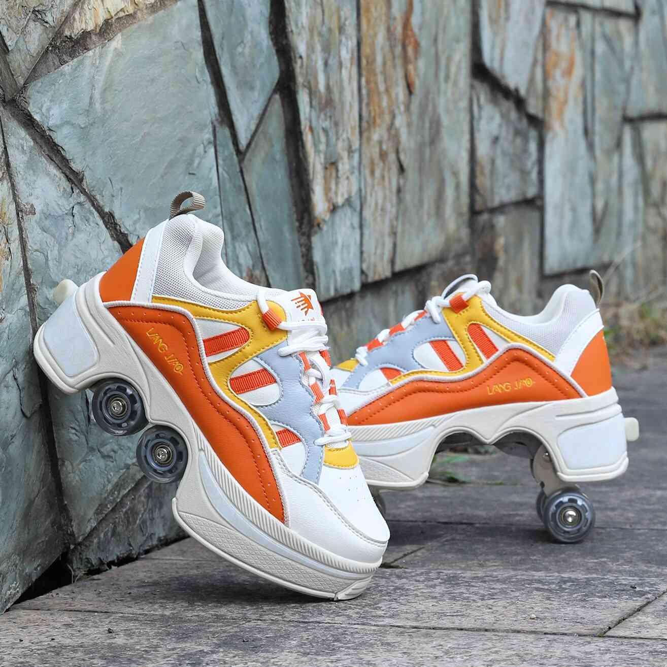 Leather 4 Wheels Double Line Roller Skates Shoes - Orange