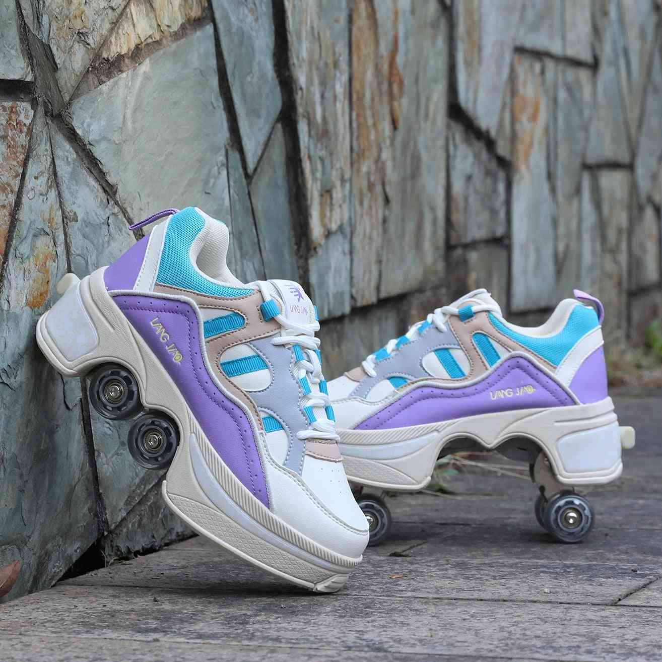 Leather 4 Wheels Double Line Roller Skates Shoes - Purple