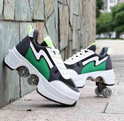 Leather 4 Wheels Double Line Roller Skates Shoes - Photo Color