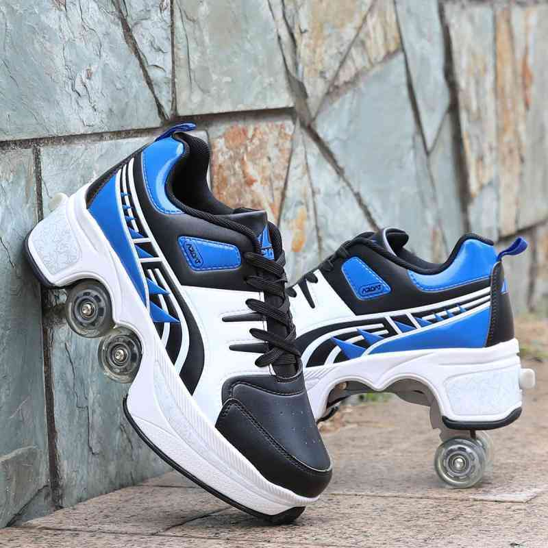 Leather 4 Wheels Double Line Roller Skates Shoes - Black And Blue