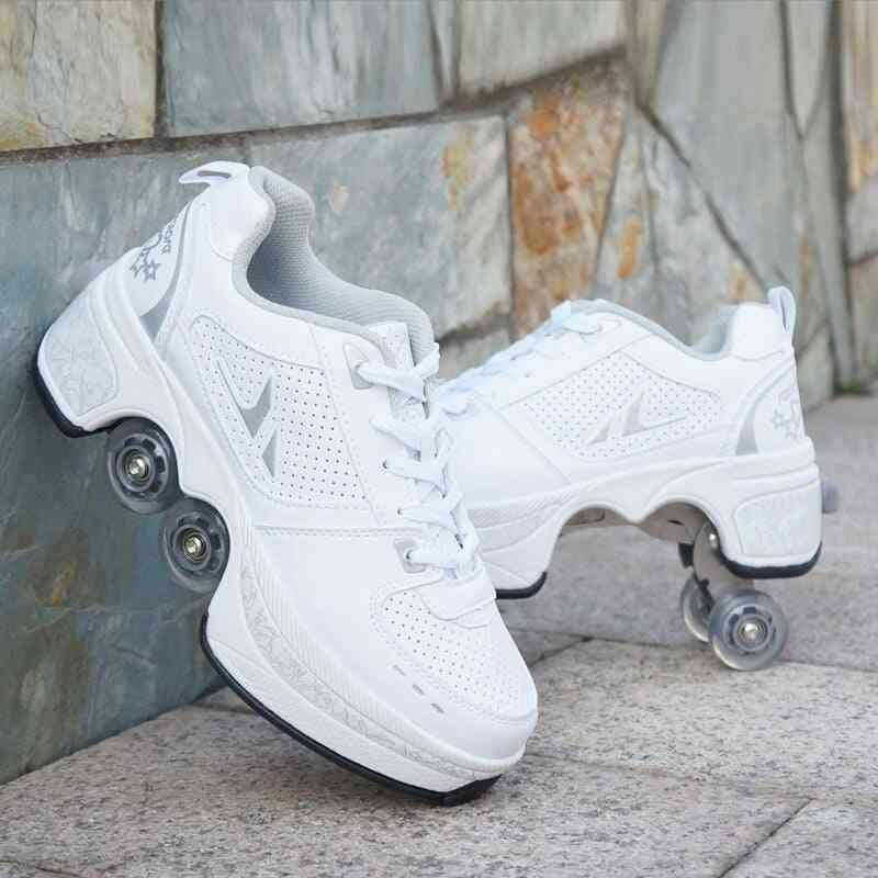 Leather 4 Wheels Double Line Roller Skates Shoes - White