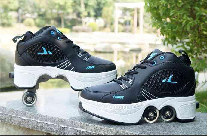 Leather 4 Wheels Double Line Roller Skates Shoes - Black