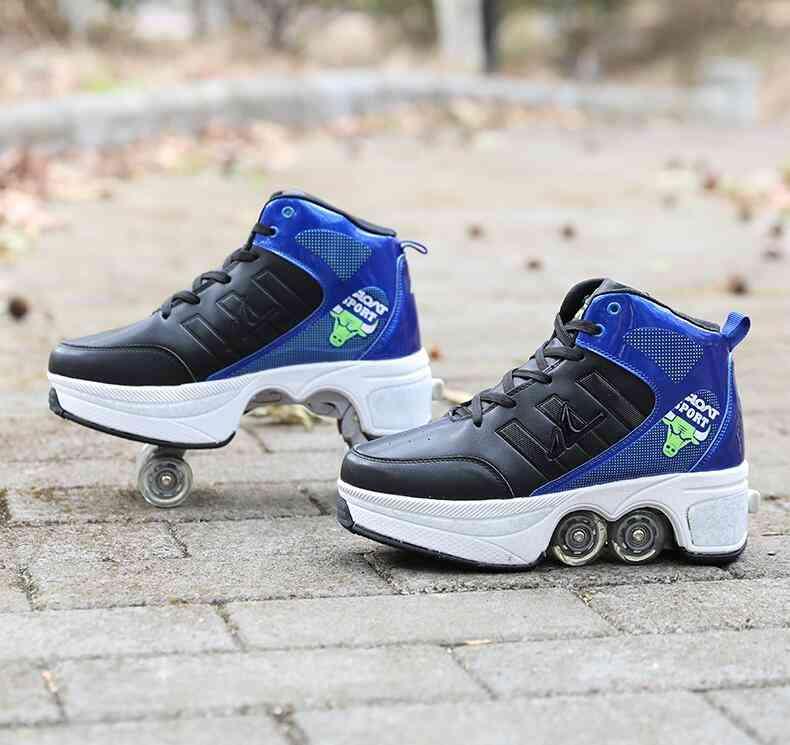 Leather 4 Wheels Double Line Roller Skates Shoes - Blue