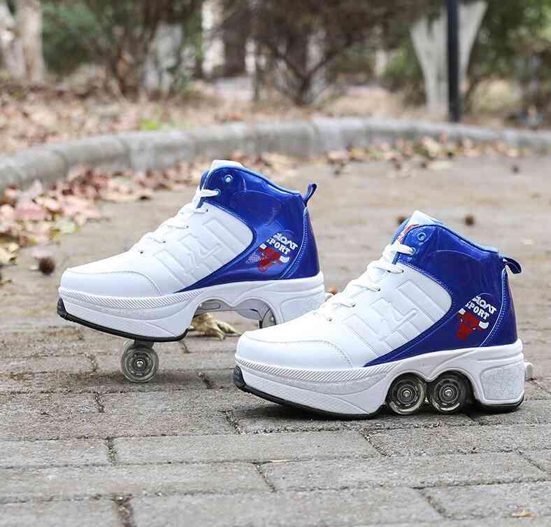 Leather 4 Wheels Double Line Roller Skates Shoes - Sky Blue