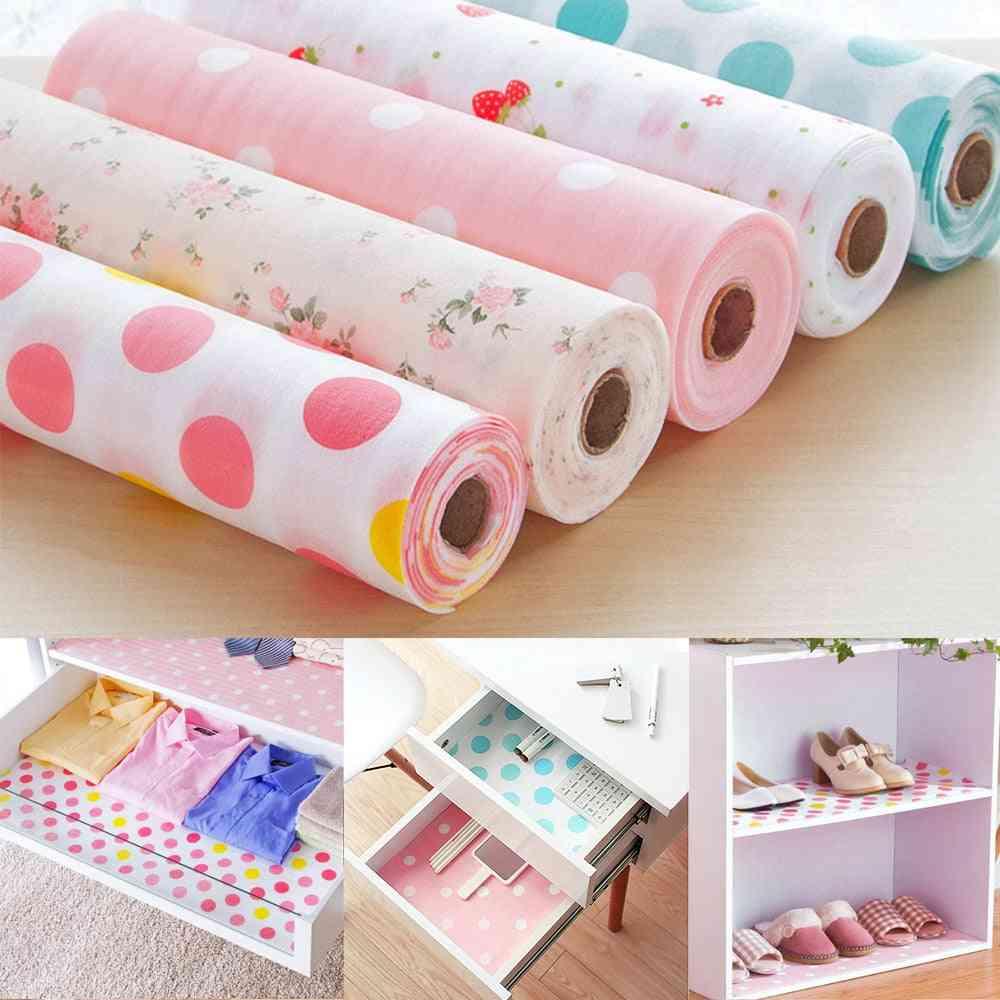 Kitchen Drawer Paper Polka Dot, Floral Strawberry Print, Waterproof, Non-adhesive, Wardrobe Diy Cabinet Dining Pads, Mats