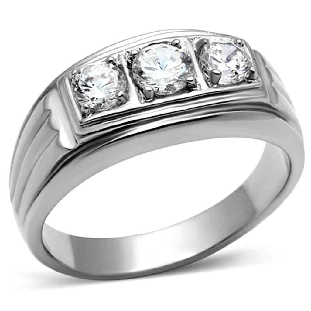 Men Stainless Steel Cubic Zirconia Rings