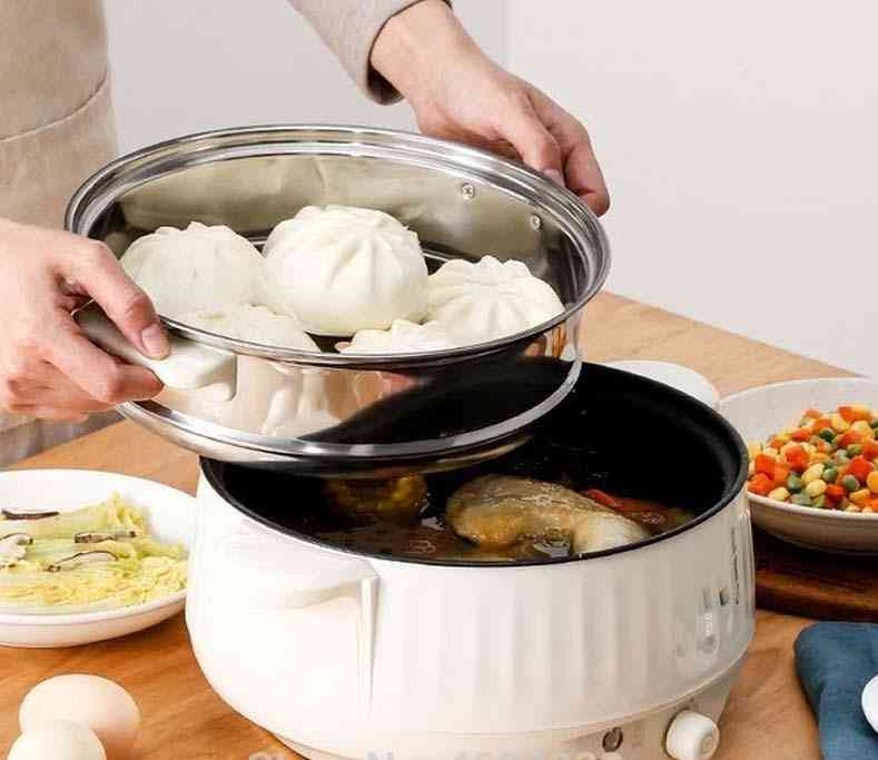 Multifunctional Electric Cooker, Heating Pan, Stew Cooking Pot, Hotpot Steamer, Dormitory Home