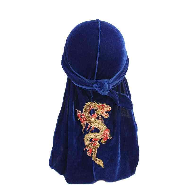 Fashion Velvet For Men, Dragon Pattern Headband Caps