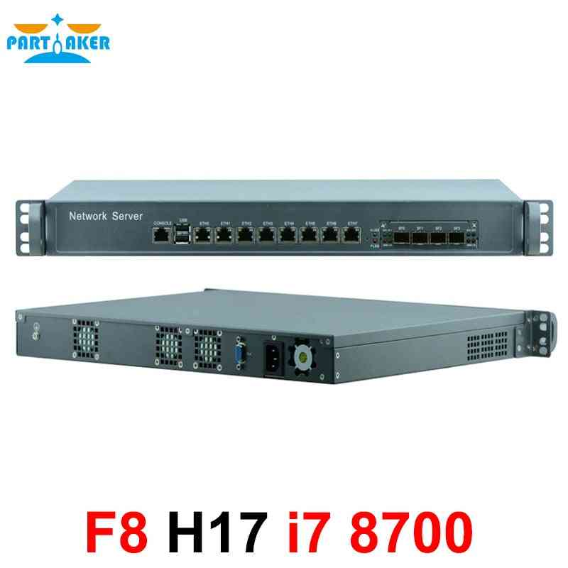 Intel Core I7 8700 Processor 1u 8 Nic Server Rack 4 Sfp I3 I5 I7 Firewall Appliance