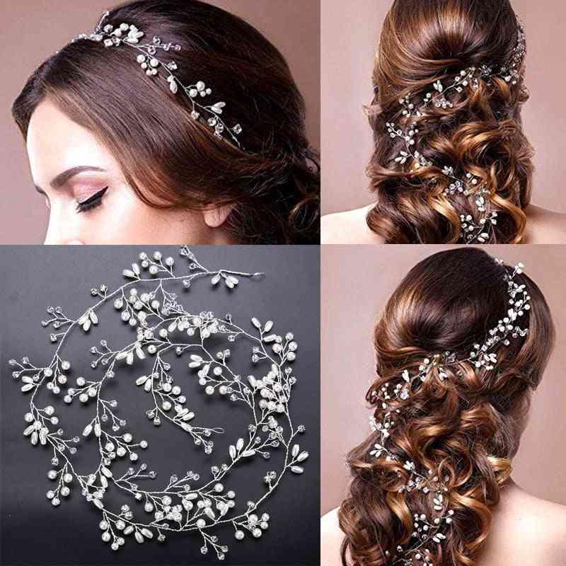 Crystal Headbands Wedding Hair Accessories Handmade Hair Decoration Pearl Head Wear Hair Ornament For Bride Headdress
