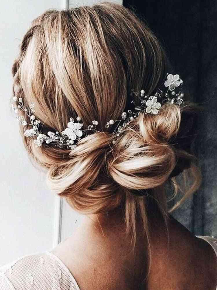 Silver Rose Gold Wedding Headband Crystal Rhinestone Flower Headpieces Bride Headdress Bridal Hair Accessories Ornaments