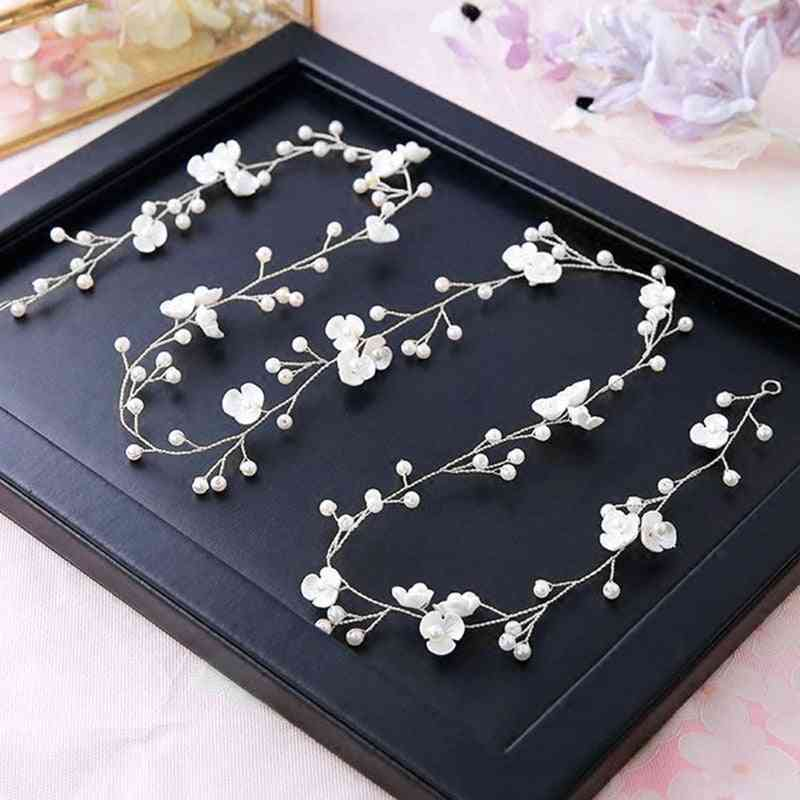 Fashion Bridal Wedding Crystal Hair Accessories Pearl Flower Headband Bride Hairband Beads Decoration Hair Comb