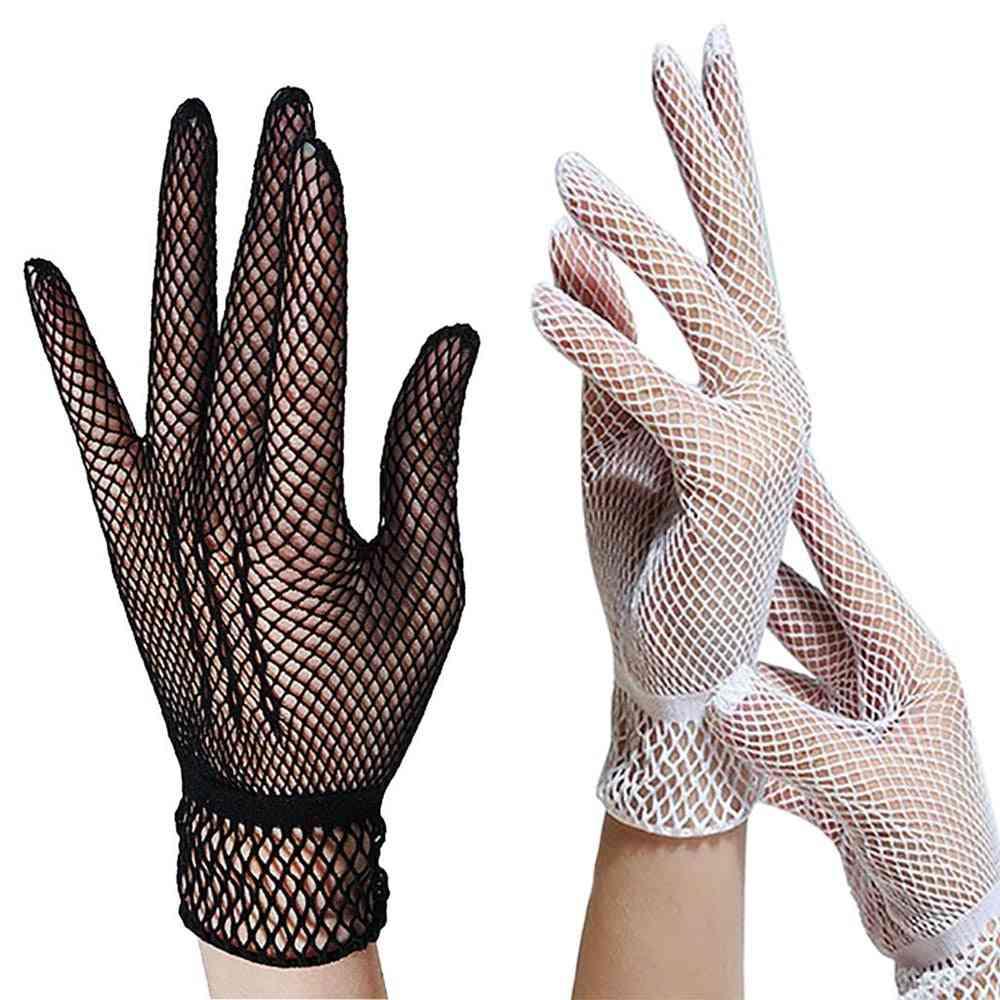 Women Summer Uv-proof Driving Gloves Mesh Fishnet Glov