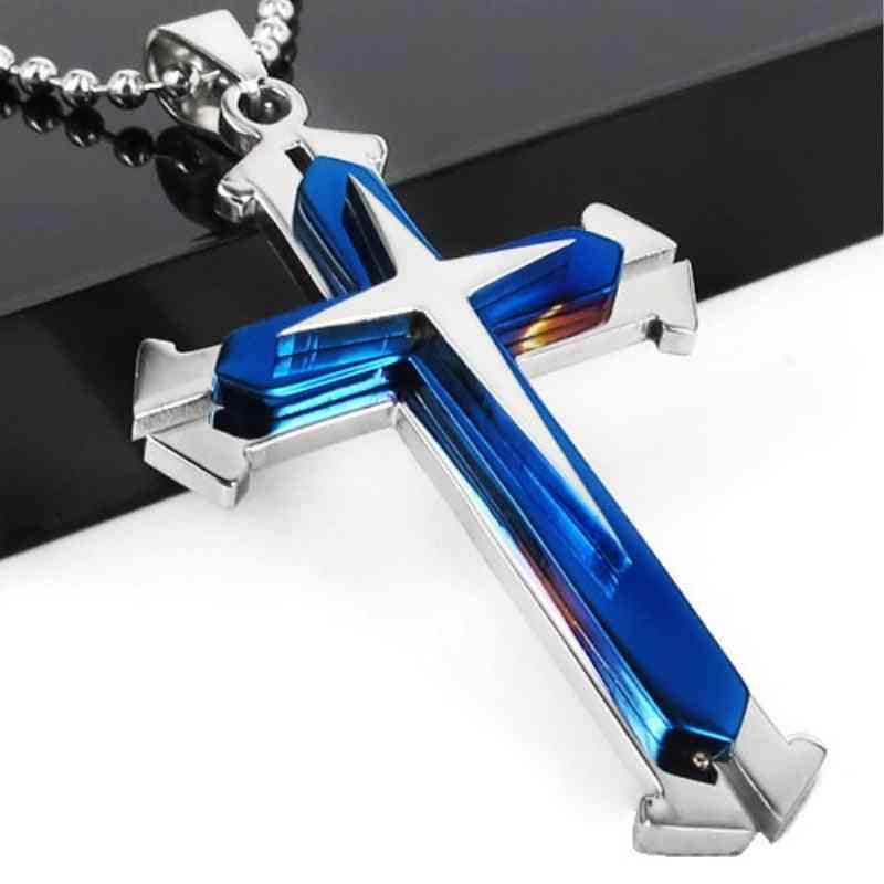 Men's Cross Necklace Jesus Titanium Steel Pendant