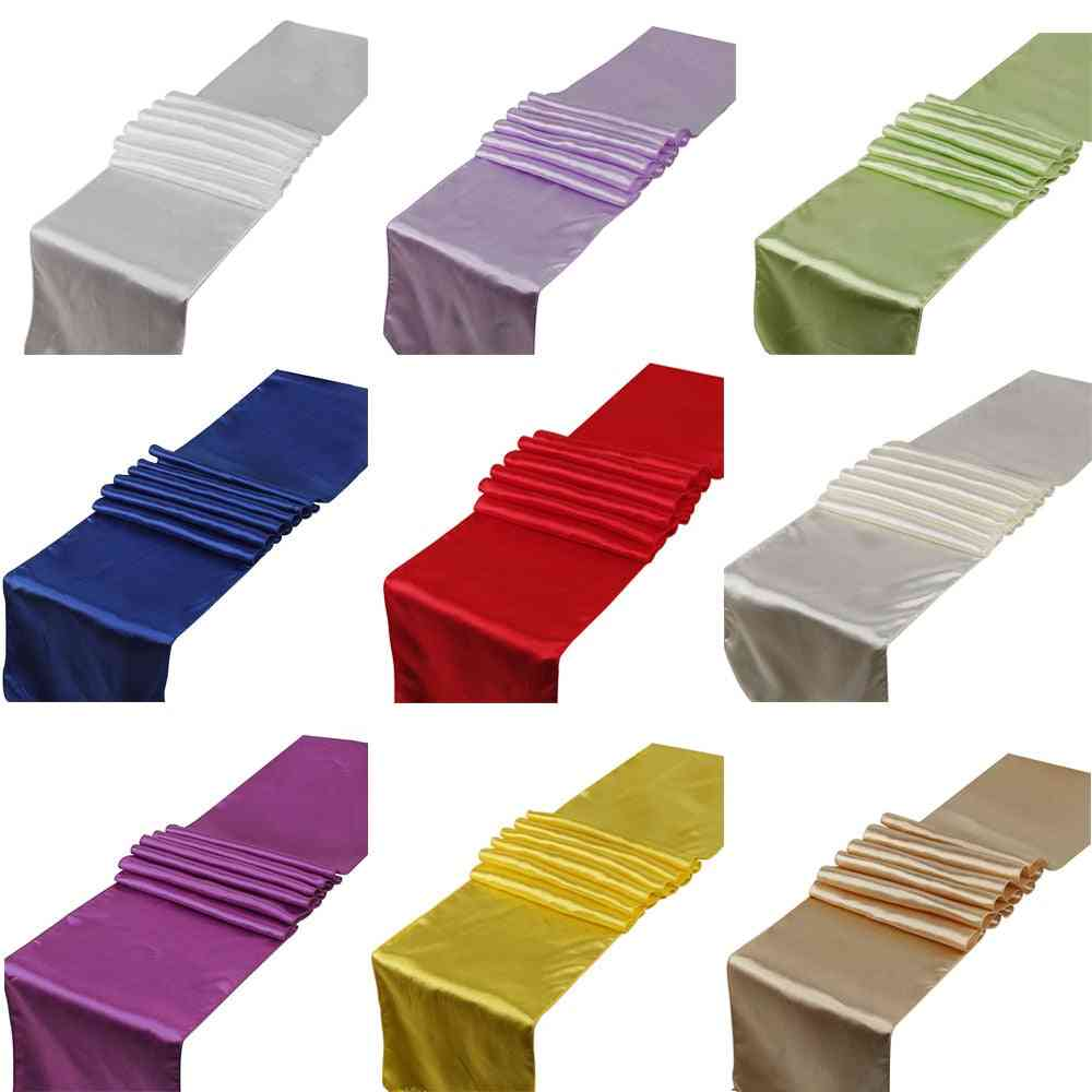 1pcs Solid Color Satin Table Runner Sashes Table Cover