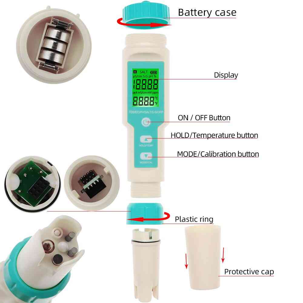 Ph Meter Salinity S. G Temperature Meter With Backlight Water Quality Monitor Tester