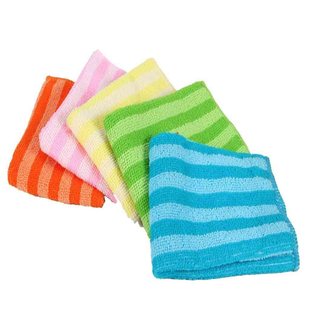 5pcs Dish Cloth Double-sided Striped Absorbent Dish Cleaning Towels